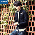 2017 NEW men off dark blue denim jacket fashion jeans coat high quality korean style slim fit outwear jacket and coat