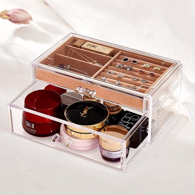 Acrylic Portable Transparent Makeup Organizer Storage Box Make Up Organizer Ring Jewelry Box Organizer Storage Drawers Organizer