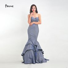 beb13d65b2 Finove vestido de baile de graduación 2019 reflectante vestido Sexy sin  tirantes Chic niveles tren sirena vestido de fiesta en W..