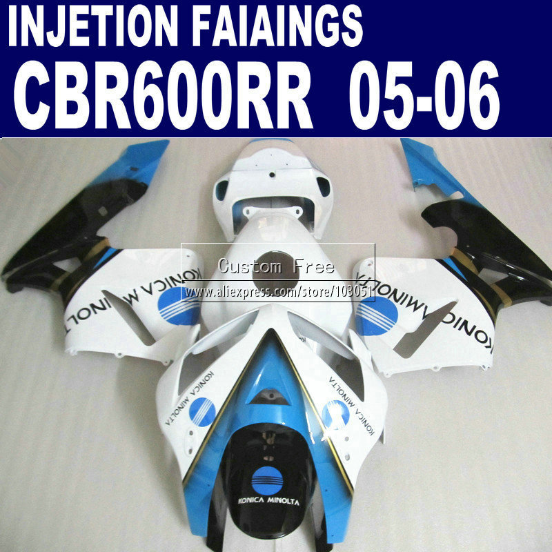 ABS plastic Injection road kit for Honda White blue CBR 600RR fairing CBR600RR 2005 2006 CBR 600 RR 05 06 fairings body parts