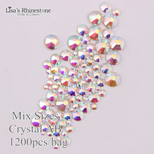 Clear AB Nail Art Rhinestones Glitters Non HotFix Crystals Stone SS4 SS6 SS8 SS10 SS12 SS16 SS20 SS30 P6661