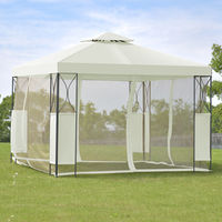 Goplus 2 Tier 10 'X10 'Gazebo Canopy Tent Shelter Wedding Party Tent Awning Steel Patio Garden Beige Cover OP3116BE