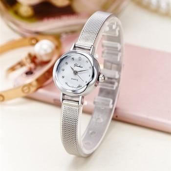 цена на Fashion Bracelet Watches Women Gold Luxury Brand Stainless Steel Quartz Watch For Ladies Casual Dress Rhinestone Wristwatches