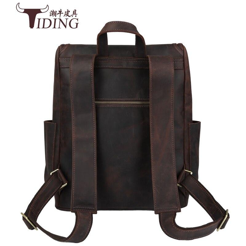 Männlichen Casual Tasche Horse 1 Zoll Rucksack Umhängetaschen Rucksäcke Daypacks Leder Männer Laptoptasche 14 Crazy Reise ZB7W1wXqX