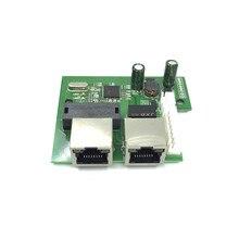OEM fabriek direct mini snelle 10/100 mbps 2 poort ethernet netwerk lan hub switch board twee layer pcb 2 rj45 1 * 8pin hoofd poort