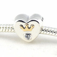 Fits Pandora Bracelet Charms Original Silver 925 Beads for Jewelry Making Majestic Heart Silver Charm Women Beads DIY Jewelry