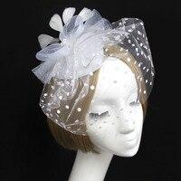 Acessórios para o cabelo Fascinator Gaze Cocar de Penas Festa de Dança Banquete Headwear Cobrindo o Rosto Véu Cocar Hairpin Headwear