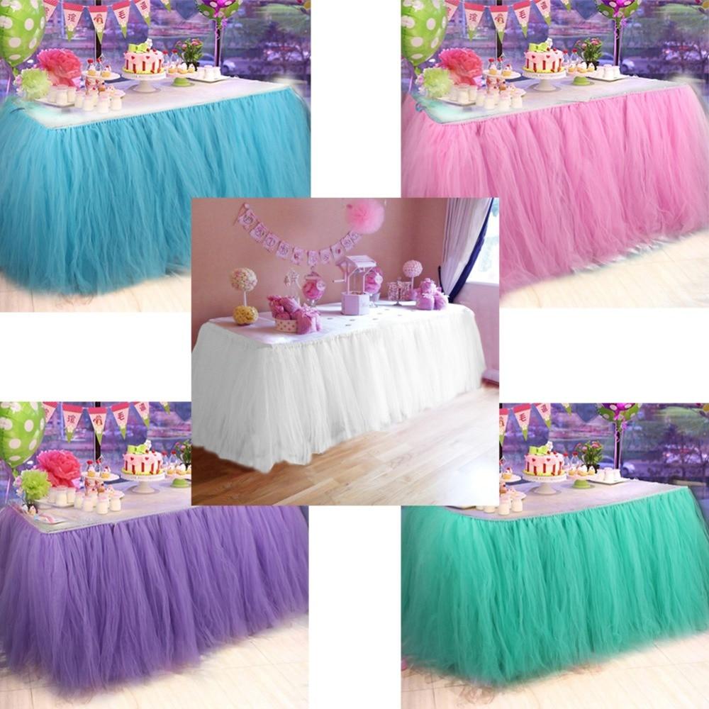 8e179d217 Nuestra cálida Mesa DIY falda personalizar tutú de tul hecho a mano falda  de mesa fiesta de cumpleaños decoración de boda textil para el hogar