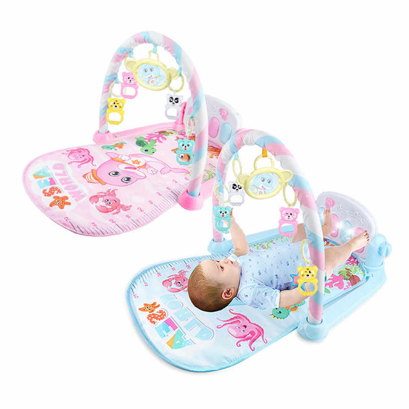 2018 Infant Cartoon Cradle Toys Baby Gilrs&Boys Fitness Frame Multifunction Foot Piano Music Game Blanket Kids Crawling Mat