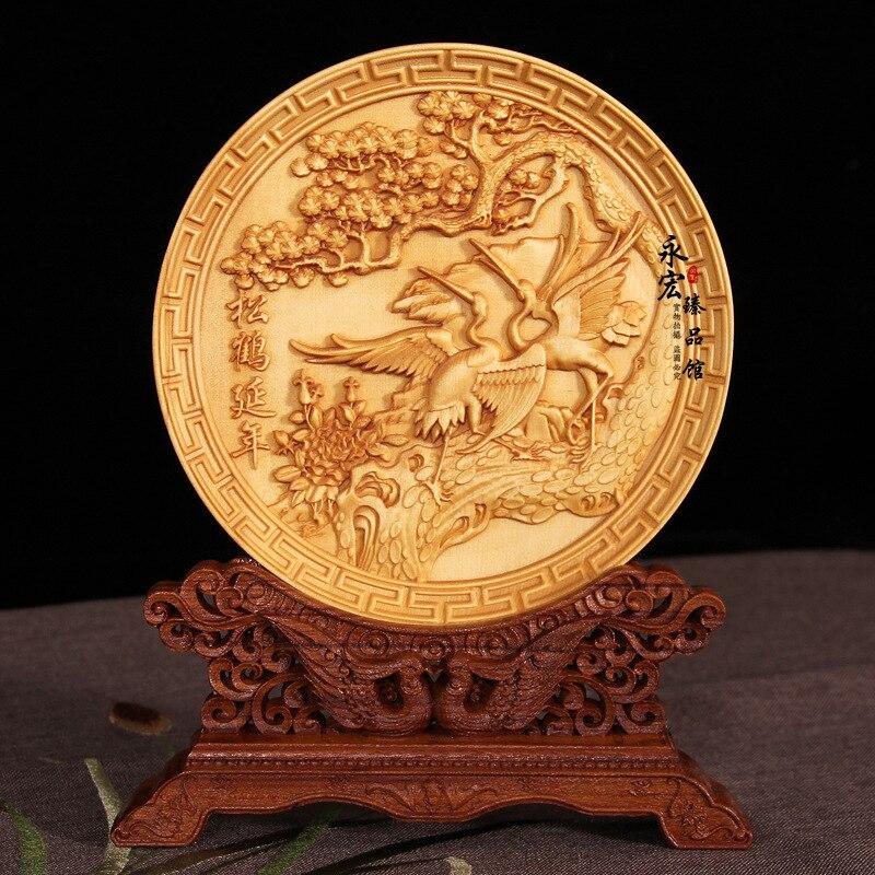 Disque en bois sculpté grue, Dragon, Phoenix, hawk, artisanat en bois décoration de la maison cadeau accessoires de bureau ornements (A810)