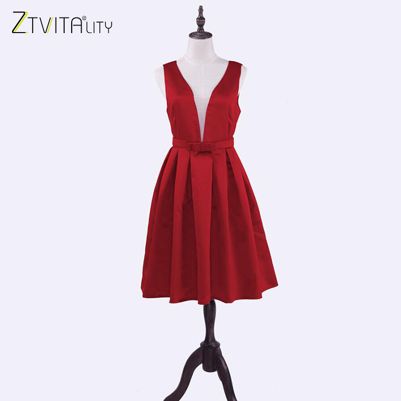 ZTVitality Women Dresses 2018 Vestidos New A-Line Solid Fashion Dress Sleeveless Sashes Party Dresses Front Mesh Patchwork Dress