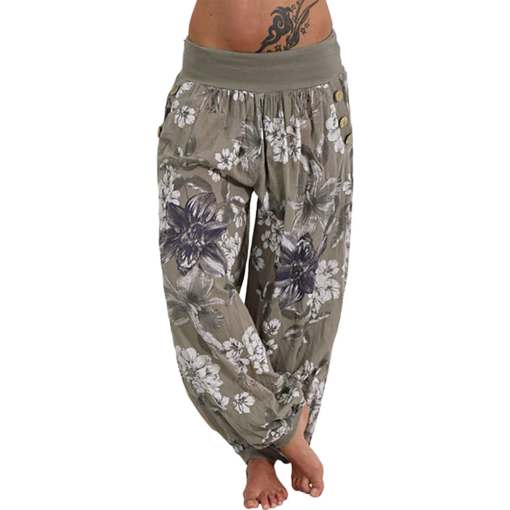 Sleeper #4005 2018 New Women Casual Print   Pants     Wide     Leg     Pants   Loose Pocket Button Harem   Pants   unique gift hot Free Shipping DA