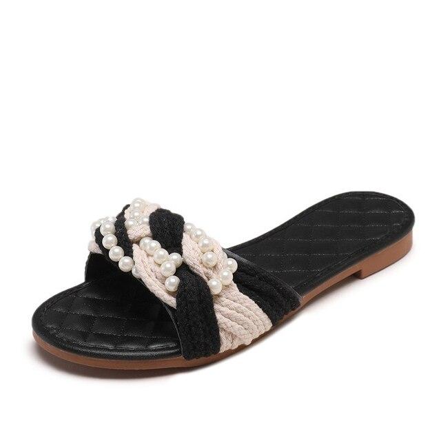 Été femmes pantoufles plates perle tissage dames sandales perles bout ouvert tongs femme plate-forme diapositives chaussures de mode