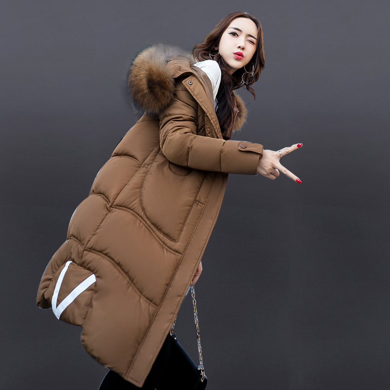 Large Faux Fur Collar Winter Warm Coat Women Jacket 2017 New Slim Female Parka Long Woman Outerwear Overcoat Plus Size 2017 winter new clothes to overcome the coat of women in the long reed rabbit hair fur fur coat fox raccoon fur collar