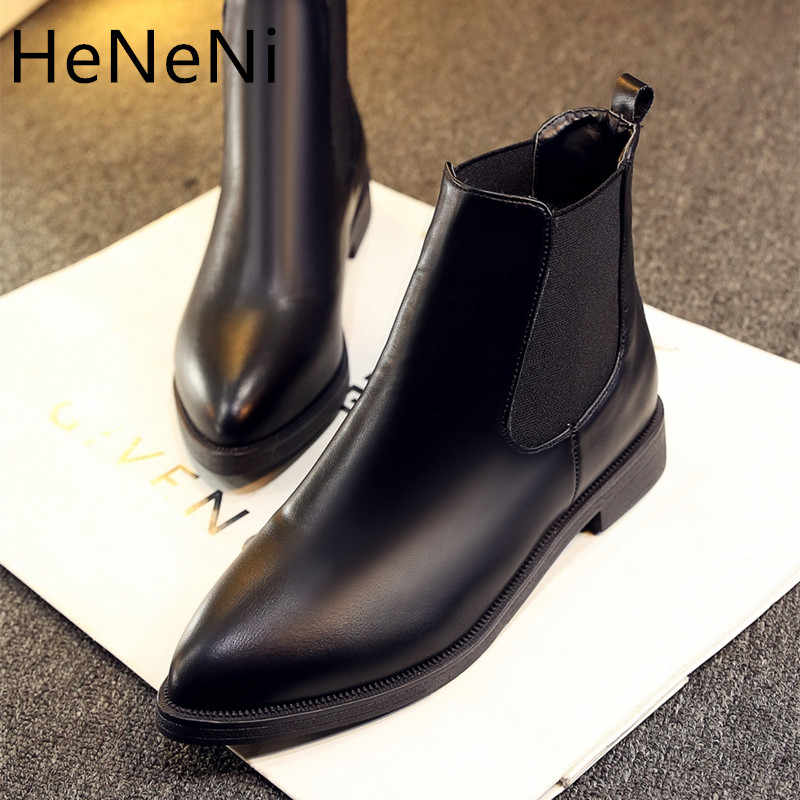 2019 Winter Boots Women Ankle Boots High Quality Pointed toe Ladies Boots Leather Fashion Boots Size 33-43