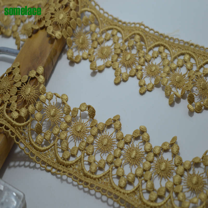New 1Y/lot Golden Lace Fabric 6.5cm Wide Wedding Dress High Quality Gold Floral Embroidery Lace Accessories Trim18043001