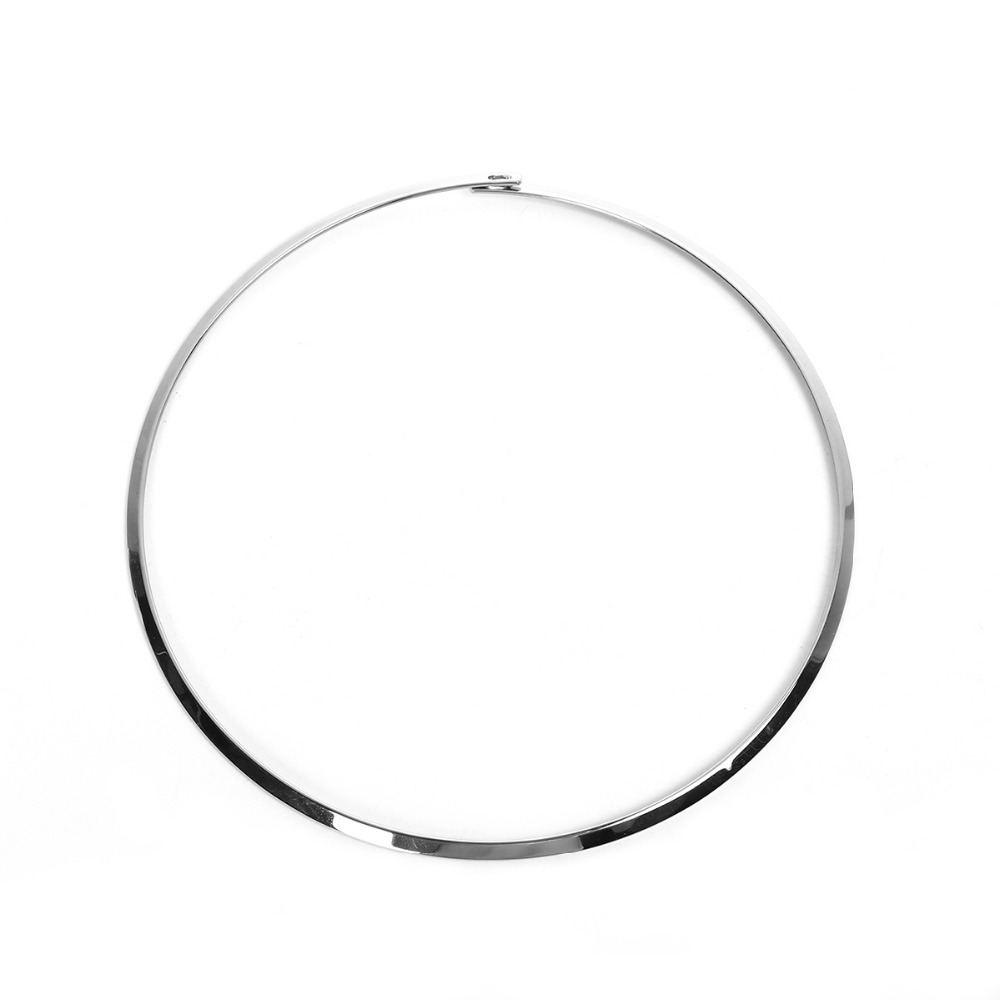 DoreenBeads 304 Stainless Steel Wire Collar Neck Round Circle Torque Necklace Dull Silver Color 45.5cm(17 7/8″) long, 1 Piece
