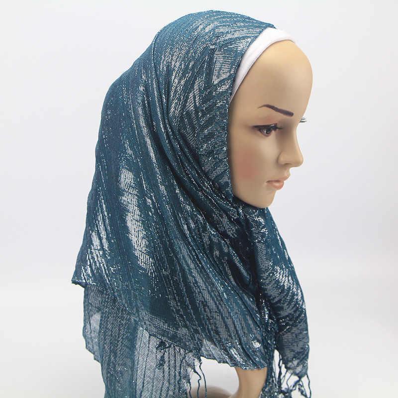 e284c92677915 ... Badinka 2018 New Plain Glitter Crinkle Jersey Hijab Scarf Jilbab Women  Muslim Palestine Crinkle Shimmer Hair ...