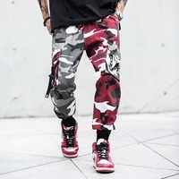 Camouflage épissure joggeurs pantalons hommes Camo Streetwear hommes Cargo pantalon Hip Hop pantalon multi-poches coton militaire salopette mâle
