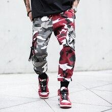Camouflage Splice joggers pants Men Camo Streetwear Mens Cargo Pants Hip Hop Trousers Multi-pocket Cotton Military Overalls Male