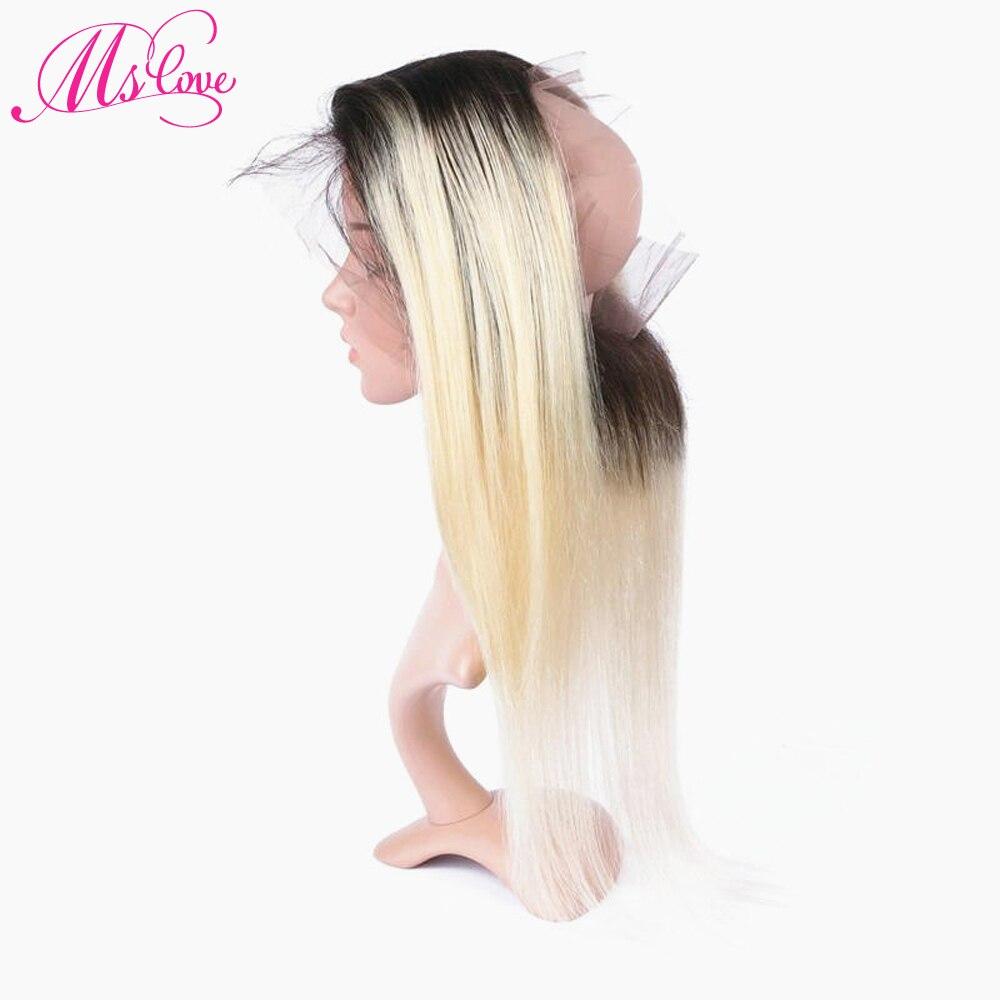 MS любовь TB/613 светлые волосы прямые 360 Кружева Фронтальная застежка 22*4*2 Pre сорвал бразильский человеческих волос фронтальной с ребенком воло...