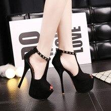Frauen sexy nachtclub catwalk modell nieten herde T gurt peep spitze zehe-plattform thin high heels sandalen prom schuhe frau sandale F1