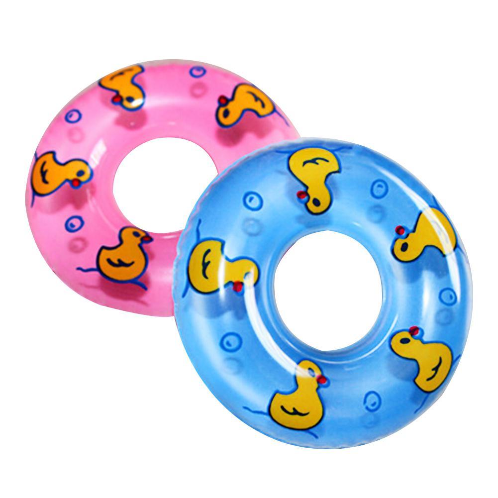 2 Pcs Baby Bath Toy Inflatable Swim Ring Toy Plastic Mini Swim Circle Gift For Kids (Pink & Blue)