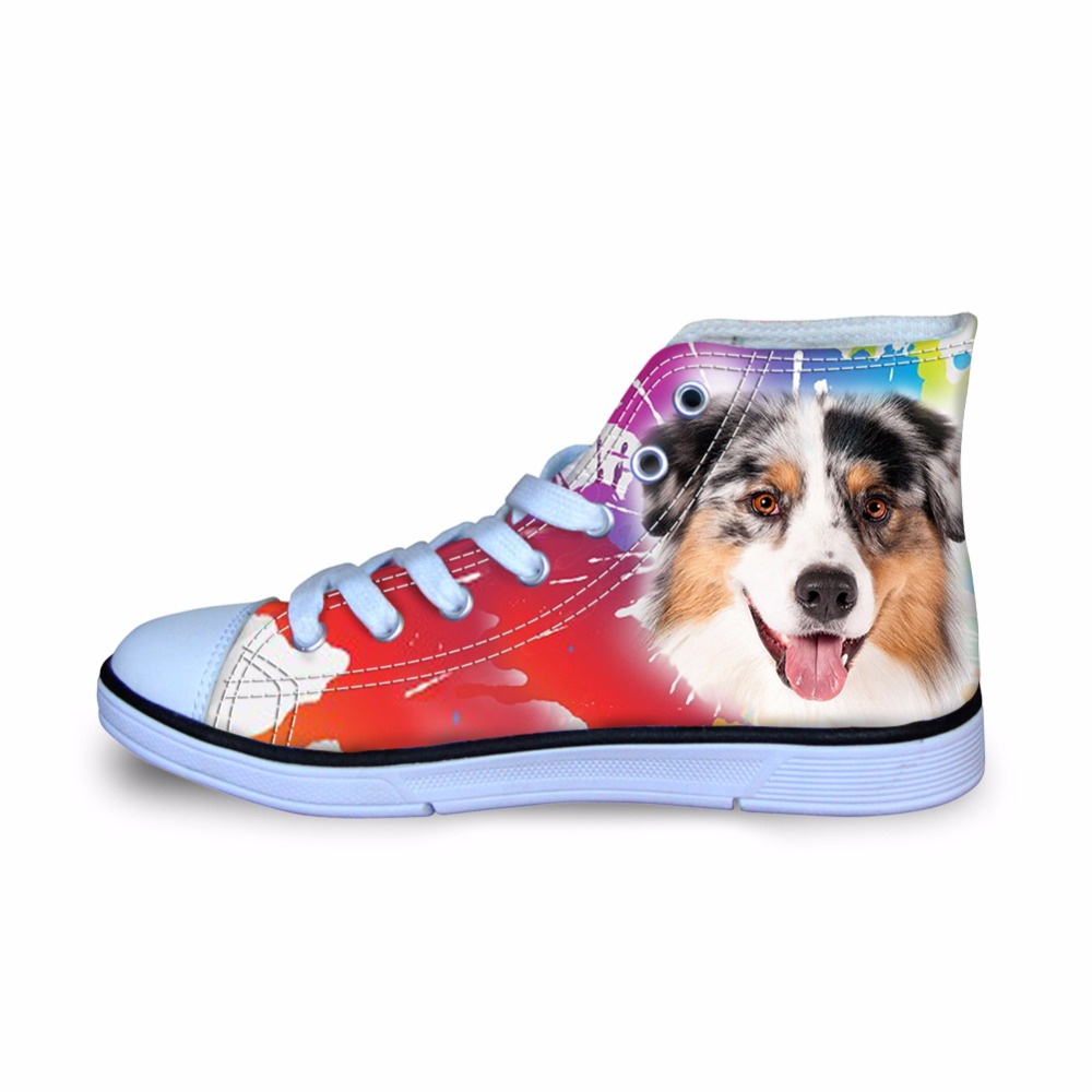 FORUDESIGNS Australian Shepherd/Bulldog Printed Canvas Sneakers Shoes For Boys Kids High top Sports Spring Autumn Walking Shoe