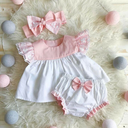 Emmababy Brand Newborn Baby Girls Clothes 3Pcs Tops Dress Shorts Pants Headband Outfits 0-24M 2019 New Hot Sets