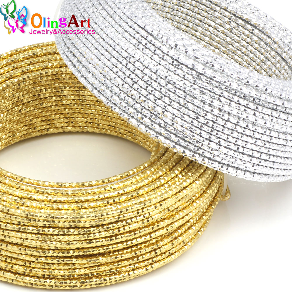 цена на OLINGART 5M/lot 2.0mm Pattern Aluminum wire gold / silver soft craft versatile metal wire necklace DIY Handmade jewelry making