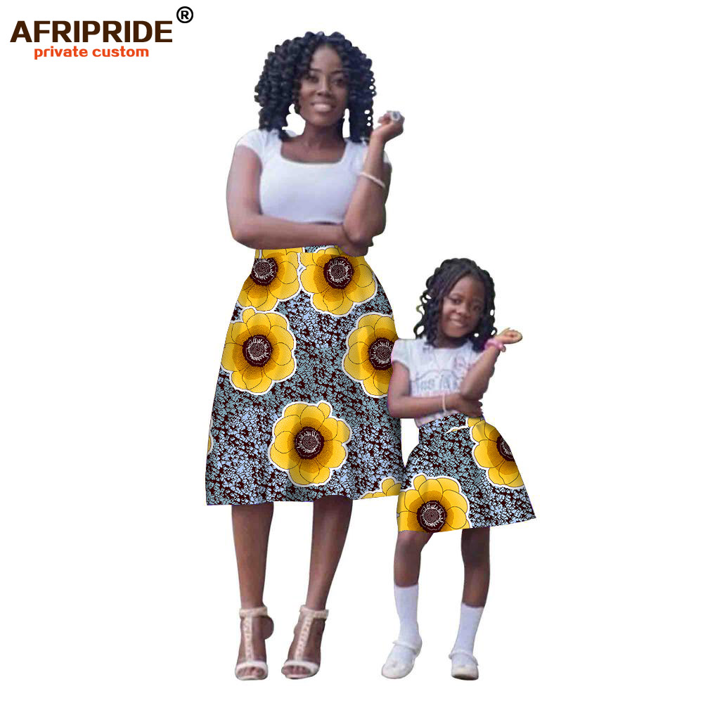 2019 african dress for women with kids skirt fashion couple clothing print cotton wax matching children
