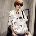New 2016 summer T shirt women style  plus size  women's T-shirt top female cotton  print short-sleeve