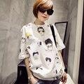 Novo 2016 verão T shirt mulheres estilo plus size mulheres de t-shirt top de algodão feminino imprimir manga curta