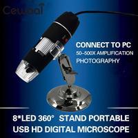 Cewaal New Portable USB 8 LED 500X 2MP Digital Microscope Endoscope Magnifier Video Camera Black High