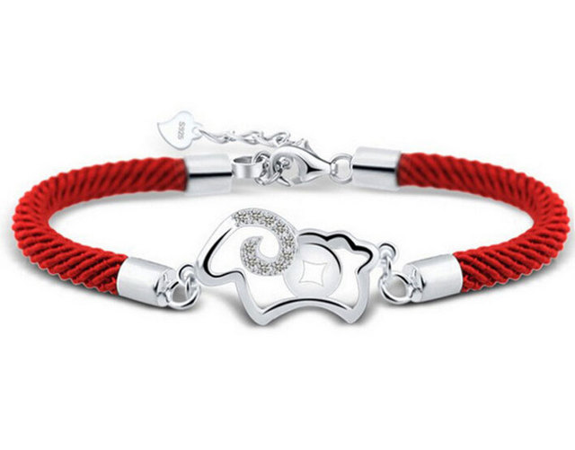 Mxza 925 Sterling Silver Bracelet Hollow Out Sheep Nano Technology Red Rope Leather