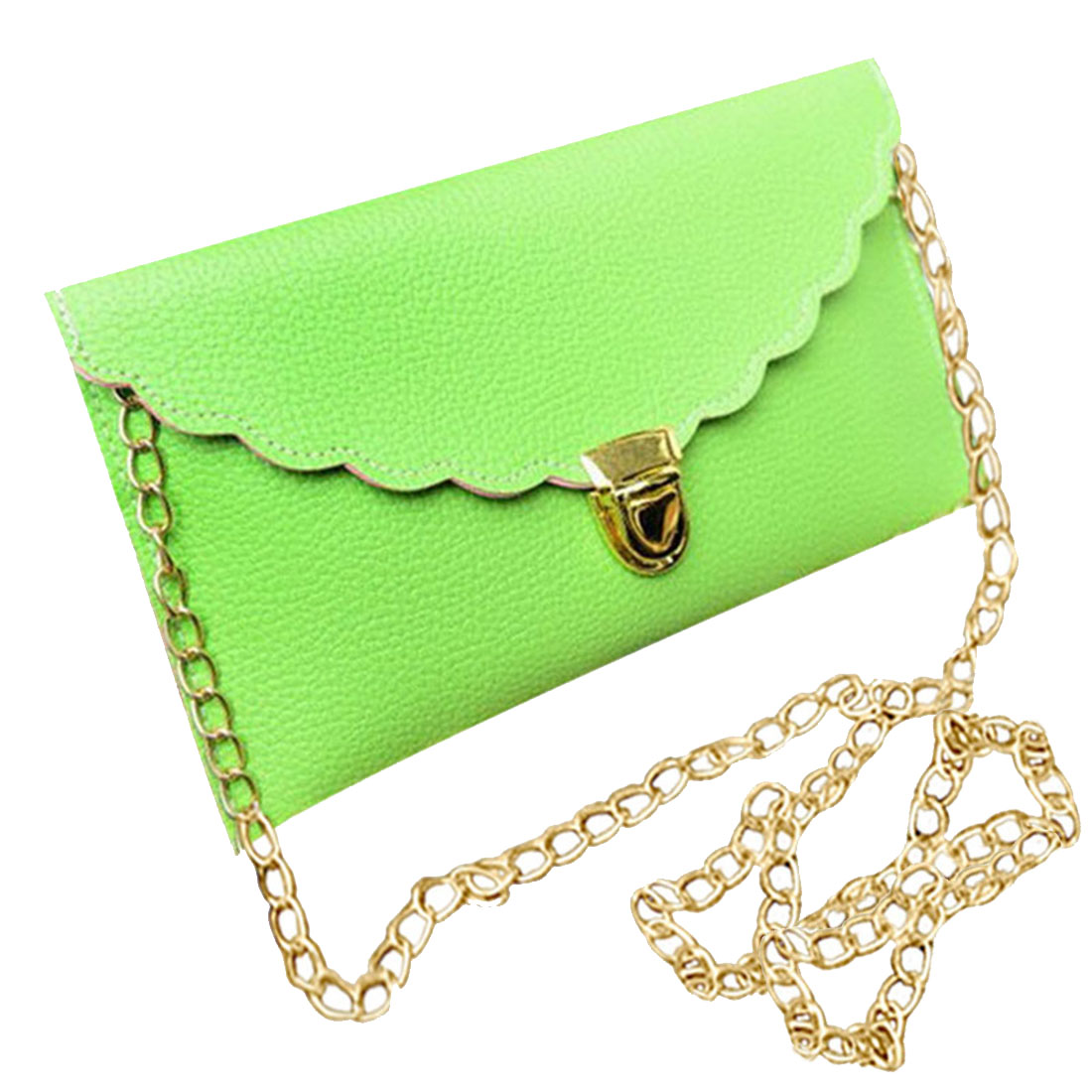 Women's Bags Luggage & Bags Ladies Handbag Imitation Leather Shoulder Bag Fashion Wallet Long Metal Chain Lady Handbag Pure White And Translucent
