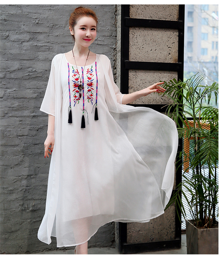 2019 New Cotton Linen Casual 2 Pieces Women Dresses Slim Sleeveless Dress And Cardigan Summer Embroidery Chinese Style Dress 8