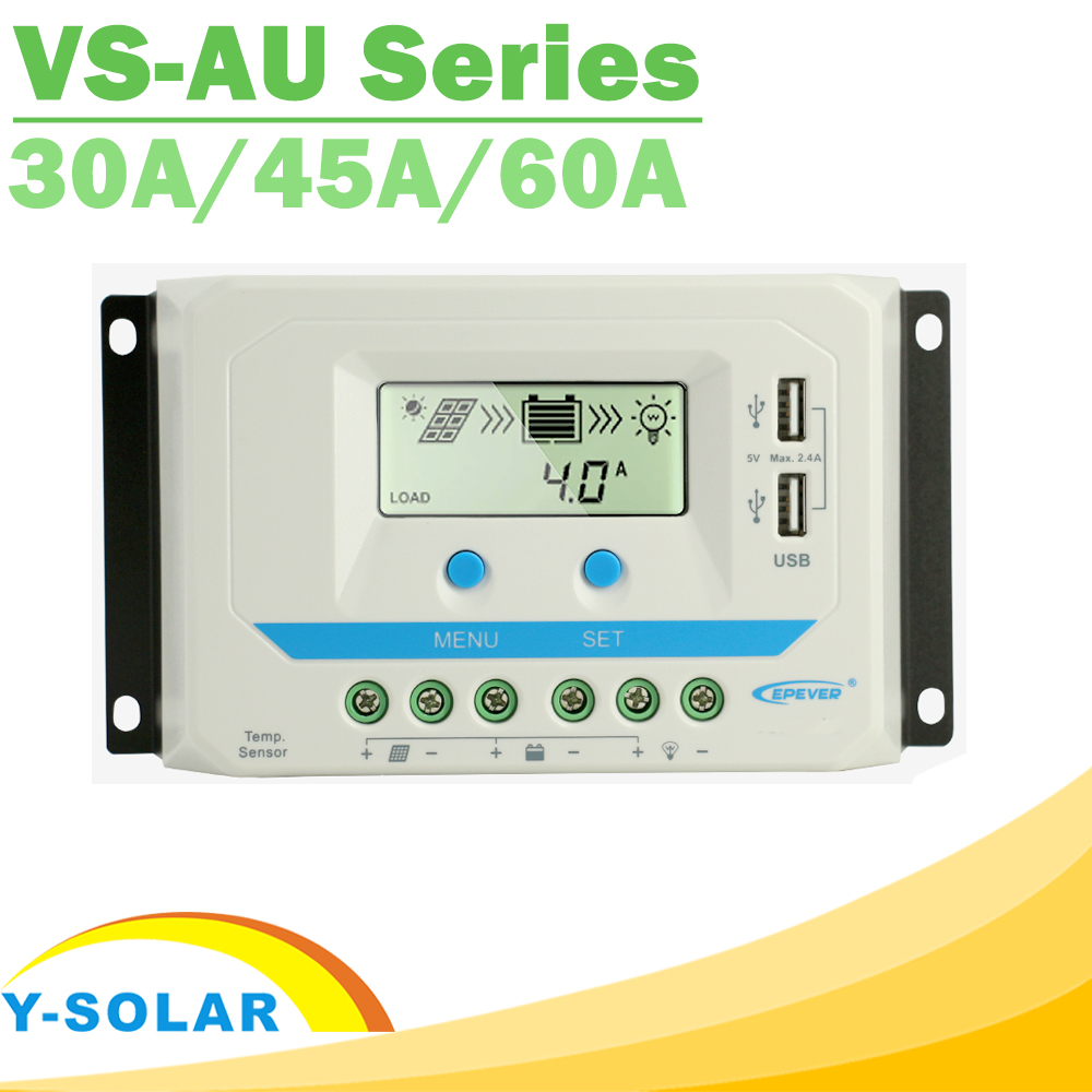 EPever PWM 30A 45A 60A Solar Charge Controller 12 24 36 48VDC Auto Backlight LCD Dual