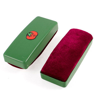 Green Dark Red Cartoon Tomato Print Blackboard Eraser Wipe Cleaner 2 Pcs