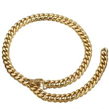 13/15/17/19mm Gold Curb Link Chain Xxxtentacion Adjustable Choker with Tail Hip Hop Rapper Miami Stainless Steel Men Necklace