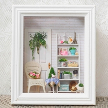 Миниатюрная рамка для кукольного домика ручной работы со светодиодной подсветкой, деревянный кукольный домик «сделай сам», миниатюрные иг...