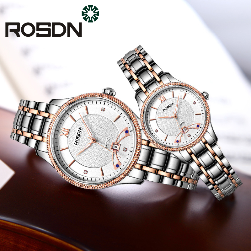 Luxury ROSDN Sapphire Couples Watch Men Women Wrist watch Pair Couple Top Brand Quartz Watch Mens watch relogio feminino