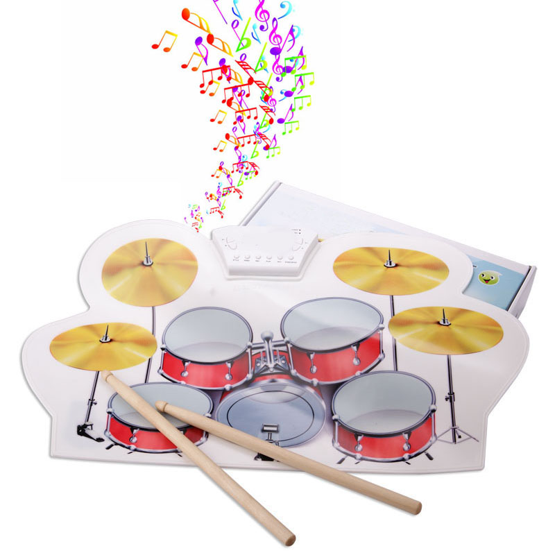 Portable Electric Drum Electronic Roll Up Drum Pad Set 9 Silicon Pads Built-in Speakers with Drumsticks Foot Pedals Silicone 6pcs set 39x 27 5x2 5cm silica gel foldable portable roller up usb electronic drum kit 2 drum sticks 2 foot pedals