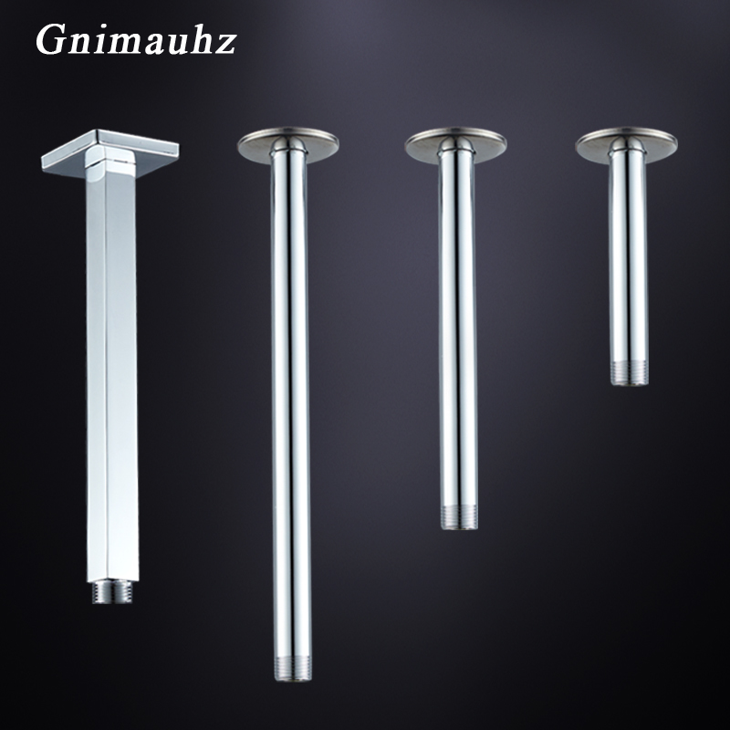 10/20/25/30cm Length Chrome Brass Concealed Shower Arm Wall Mounted Ceiling Head Pipe Square Round Bathroom Shower Arm Pole Pipe