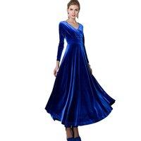 Moda Kadın Etekler Uzun Kollu V Yaka Altın Kadife Ayak Bileği-Uzunluk Katı Renk Dökümlü Etek Zayıflama Zarif Parti mujeres vestido