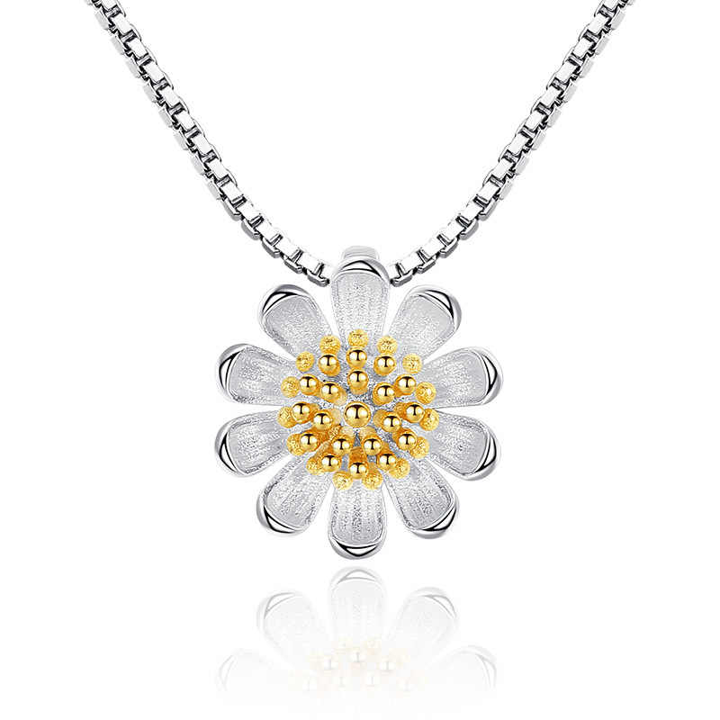 Utimtree New Arrival 925 Sterling Silver Necklace For Women Daisy Sunflower Pendant Chokers Necklace Collares Wedding Jewelry