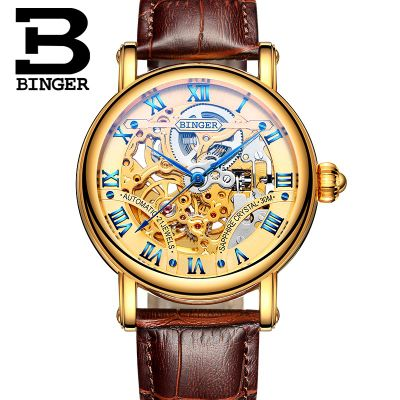ФОТО Switzerland Binger Fashion Casual Hollow Design Famous Brand Homme Black Golden Watches Men Luxury Brand Automatic Wrist Watch