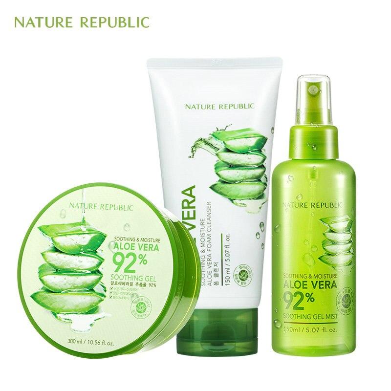 Nature république coréenne soin de la peau nettoyant hydratant ensemble Gel d'aloe Vera + crème pour le visage contrôle de l'huile acné supprimer la crème pour le visage