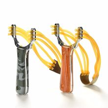 Powerful Sling Shot Aluminium Alloy and wood Slingshot Camouflage Bow Catapult Outdoor Hunting Slingshot Hunt Accessories