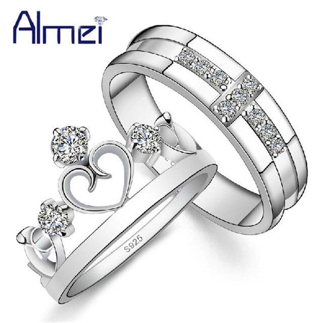 Célèbre 49% off Crown Couple Rings Silver Color Jewelry Zircon Engagement  AD37